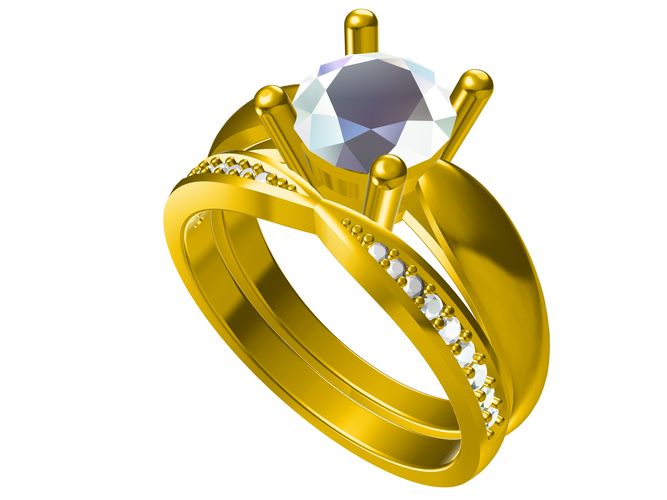 3D CAD Model For Bridal Ring Set In STL Format 3D Print 151454