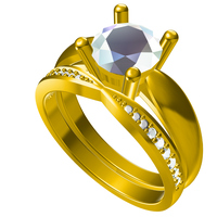 Small 3D CAD Model For Bridal Ring Set In STL Format 3D Printing 151454