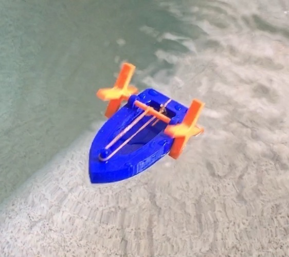 Rubber band powered boat 3D Print 151459