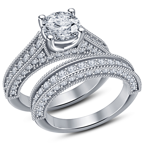 Womens Bridal Ring Set 3D CAD Design In STL Format 3D Print 152290