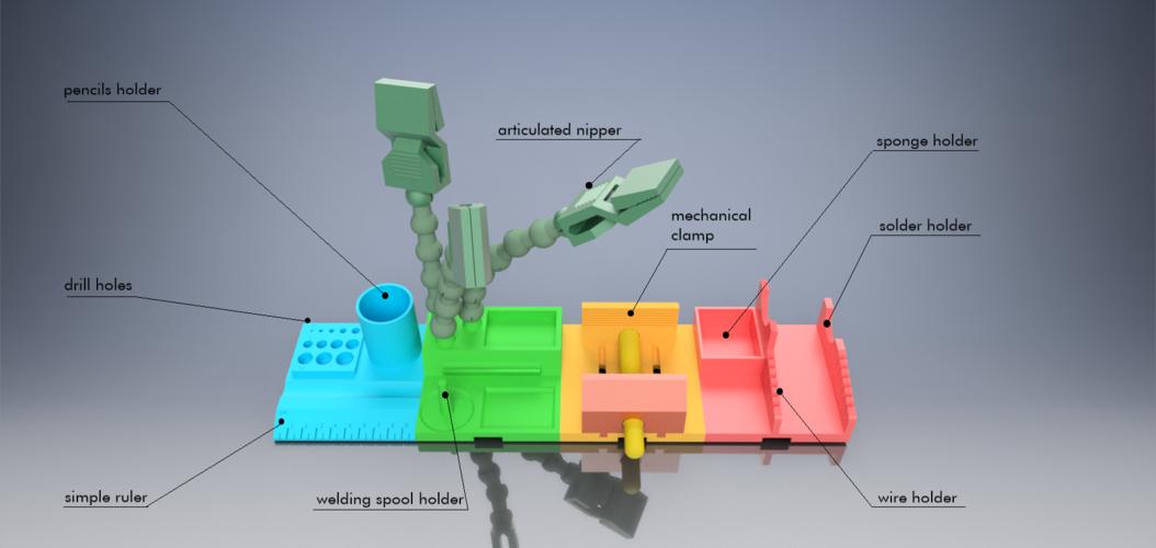 3d Printed Maker Modular Desk Organizer