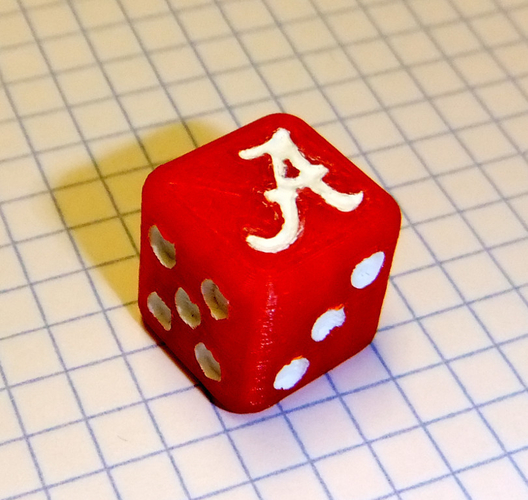 Alabama Crimson Tide Dice 3D Print 153573