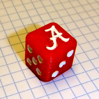 Small Alabama Crimson Tide Dice 3D Printing 153573