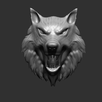 Small Wolf Head 3D Printing 15371
