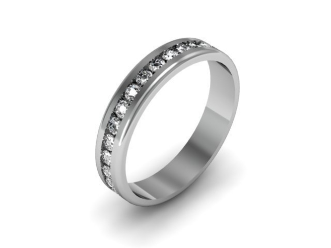 Channel Set Diamond Wedding Band 3D Print 153885