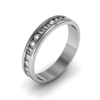 Small Channel Set Diamond Wedding Band 3D Printing 153885