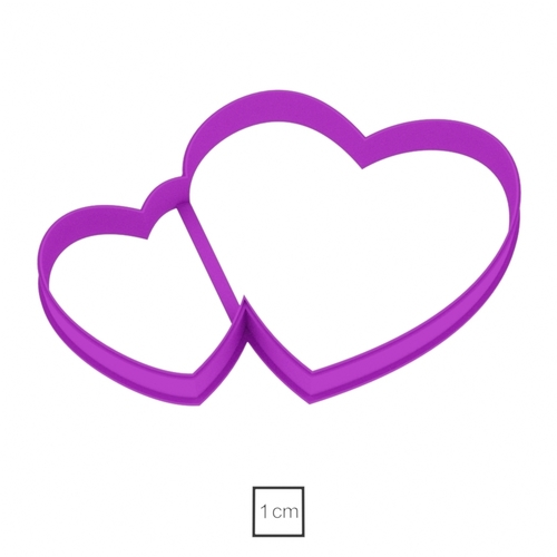 Two hearts cookie cutter for professional 3D Print 153946