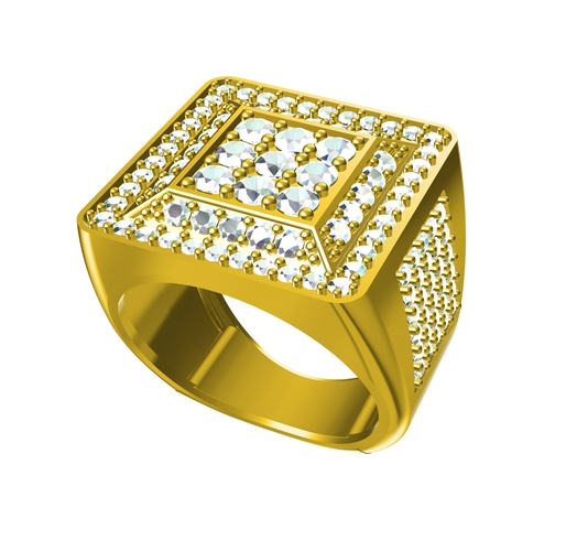 Artistic Jewelry 3D CAD Model Of Mens Ring In STL Format 3D Print 154436