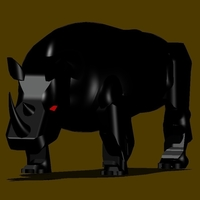 Small BLACK RHINOCEROS MODEL DISPLAY 3D Printing 154443