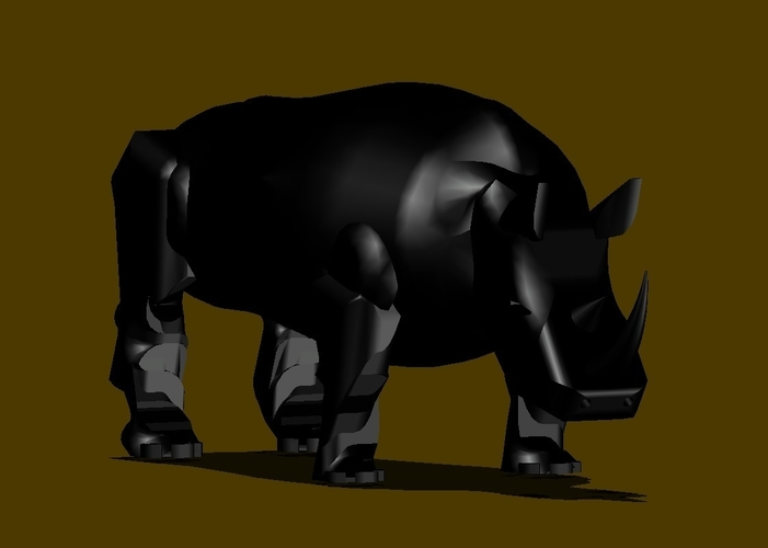 BLACK RHINOCEROS MODEL DISPLAY 3D Print 154445