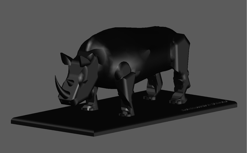 BLACK RHINOCEROS MODEL DISPLAY 3D Print 154446