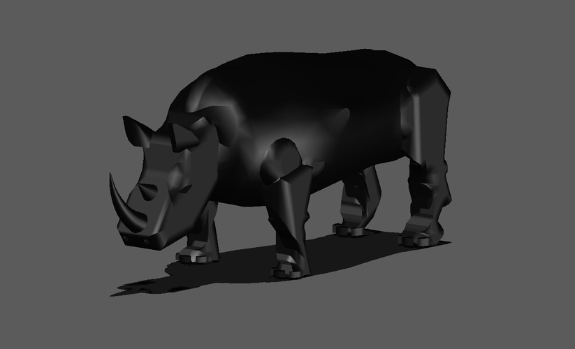 BLACK RHINOCEROS MODEL DISPLAY 3D Print 154447