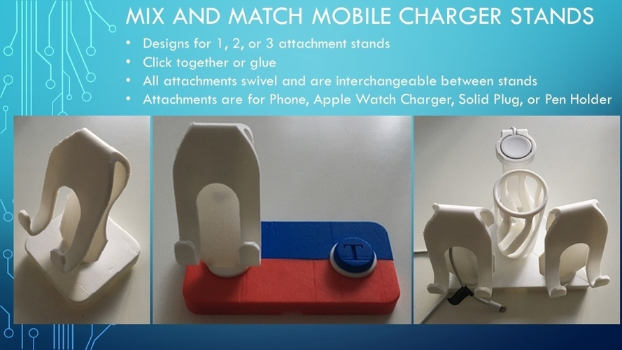 Mix and Match Mobile Phone and Watch Charger Stands 3D Print 154701