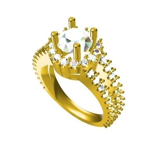 3D CAD Design Of Womens Engagement Ring 3D Print 155272