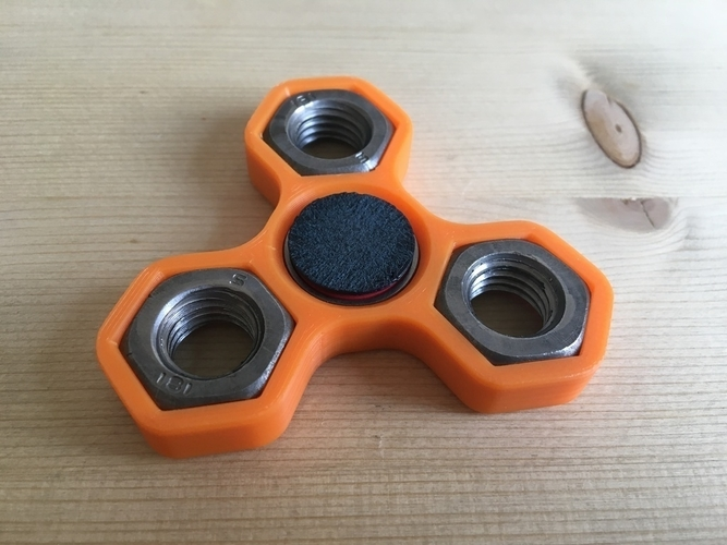 Fidget Hand triple Spinner with 3xM14 hex nuts 3D Print 155950