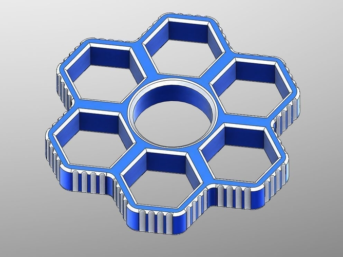 Fidget Hand Sixtuple Spinner with 6xM12 hex nuts 3D Print 155954
