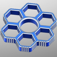 Small Fidget Hand Sixtuple Spinner with 6xM12 hex nuts 3D Printing 155954