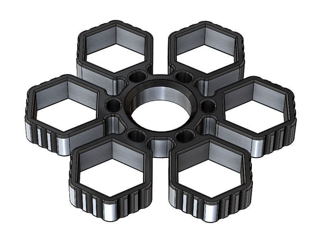 Fidget Hand Sixtuple Spinner with 6xM14 hex nuts 3D Print 155955
