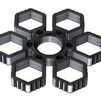 Small Fidget Hand Sixtuple Spinner with 6xM14 hex nuts 3D Printing 155955