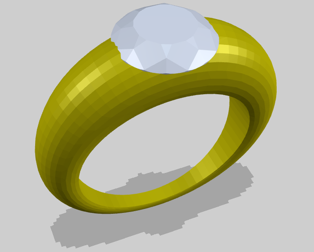 Ring with Diamond 3D Print 156182