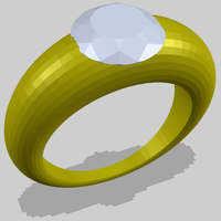 Small Ring with Diamond 3D Printing 156182
