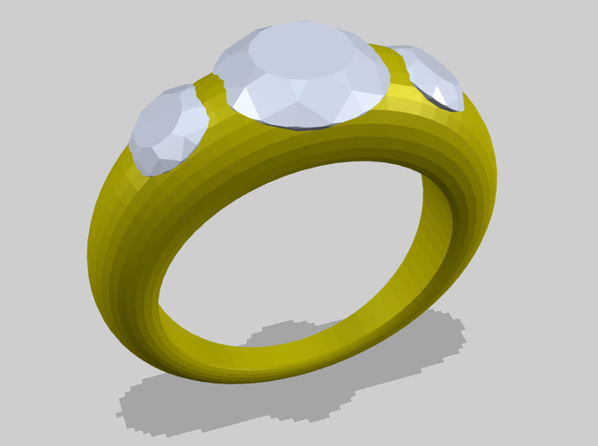 Simple Ring with 3 Diamonds 3D Print 156189