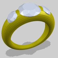 Small Simple Ring with 3 Diamonds 3D Printing 156189