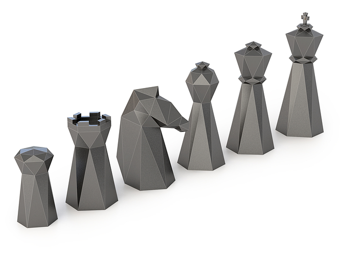 Low Poly Chess Set 3D Print 156326