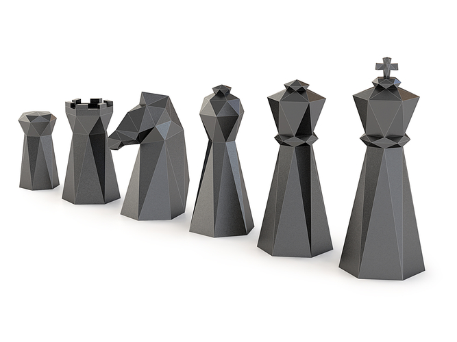 Low Poly Chess Set 3D Print 156327