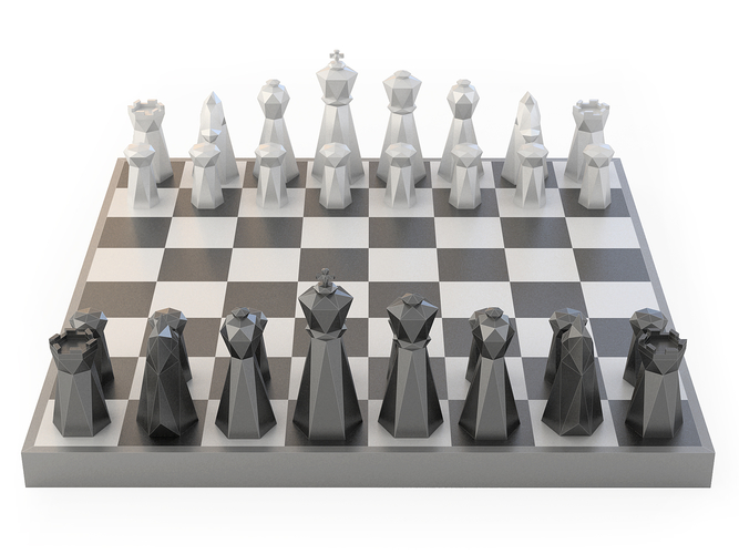 Low Poly Chess Set 3D Print 156328