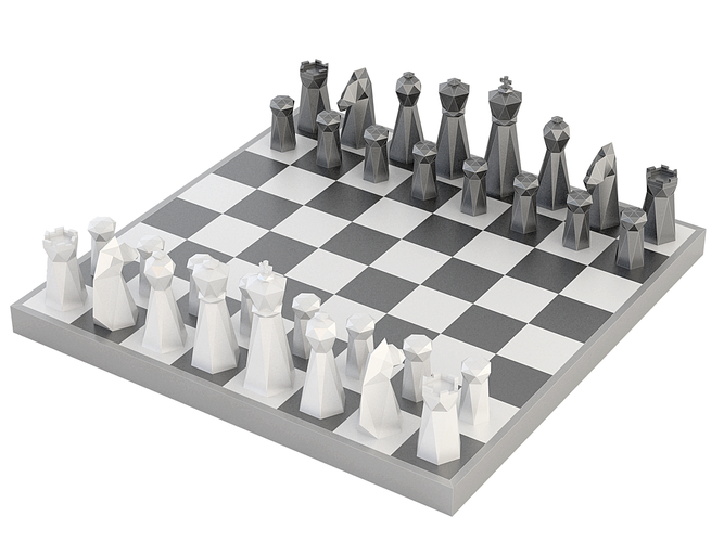 Low Poly Chess Set 3D Print 156329
