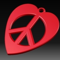 Small Heart-Peace Earrings 3D Printing 156371