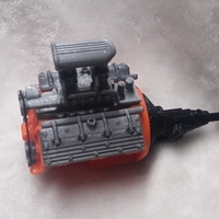 Small remix of HotRod V8 twin carb blown nostalgic engine by macone1,  3D Printing 156426