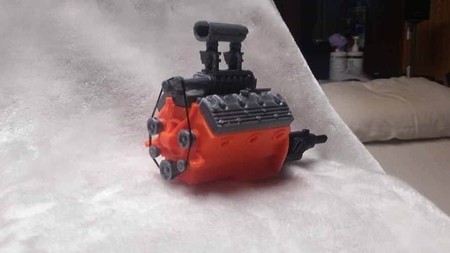 remix of HotRod V8 twin carb blown nostalgic engine by macone1,  3D Print 156427