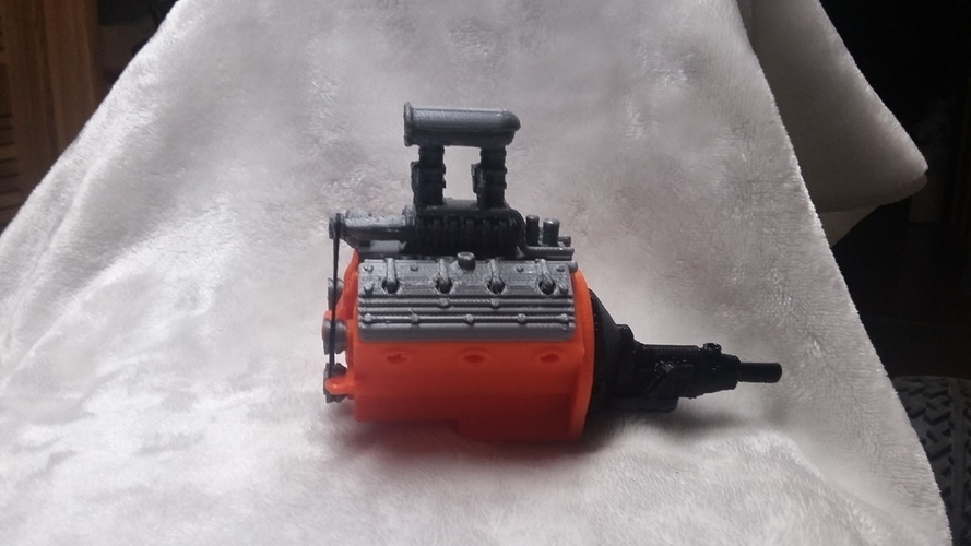 remix of HotRod V8 twin carb blown nostalgic engine by macone1,  3D Print 156428