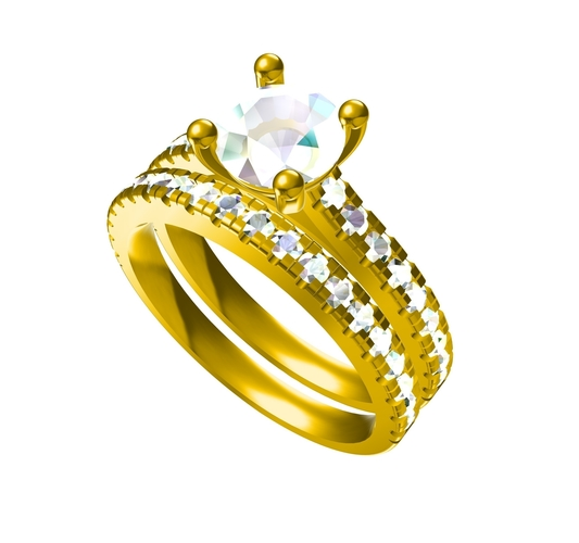 3D Jewelry CAD File For Beautiful Bridal Ring Set 3D Print 156582