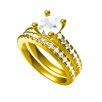 Small 3D Jewelry CAD File For Beautiful Bridal Ring Set 3D Printing 156582