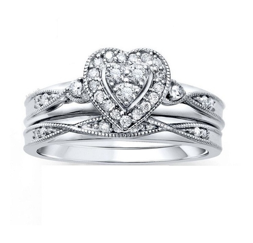 Heart Design Bridal Ring Set 3D CAD Model In STL Format 3D Print 156586