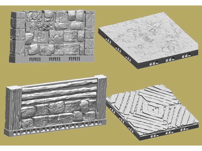 OpenLOCK Tile Samples Dirt Shanty Stone Log Walls and Floors 3D Print 156678