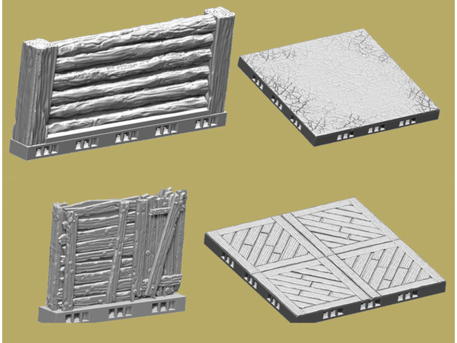 OpenLOCK Tile Samples Dirt Shanty Stone Log Walls and Floors 3D Print 156680