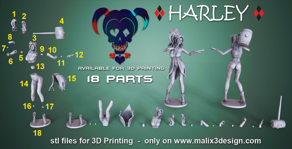 Harley Quinn - 3D Model for 3D Printing 3D Print 157012