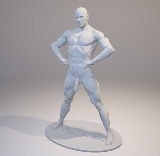 Naked Bodybuilder Statue with penis 3D Print 157746