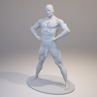 Small Naked Bodybuilder Statue with penis 3D Printing 157746