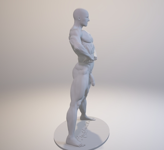 Naked Bodybuilder Statue with penis 3D Print 157748