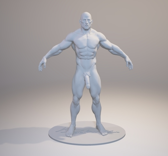 Naked Bodybuilder 2  Statue with penis 3D Print 157851