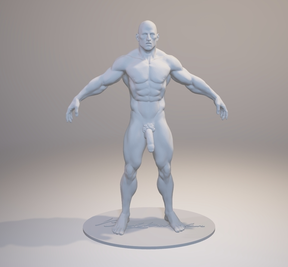 3D Printed Standing Muscular Nude Man