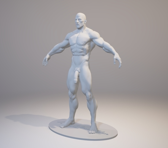 Naked Bodybuilder 2  Statue with penis 3D Print 157854
