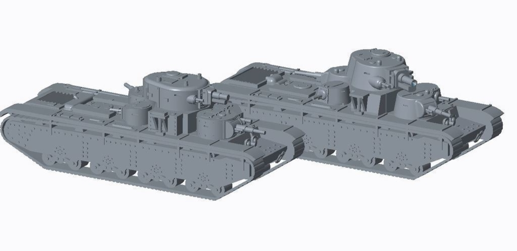 Soviet Multi-Turret Tank (REVISED)Pack 3D Print 158341