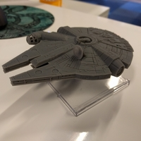 Small Millenium Falcon with hole for mounting peg/X-Wing: TMG stand 3D Printing 158858