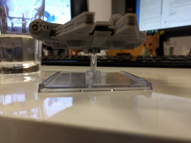 Millenium Falcon with hole for mounting peg/X-Wing: TMG stand 3D Print 158860